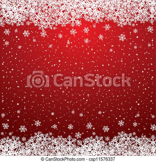 étoiles, neige, fond, snowflake blanc, rouges - csp11576337