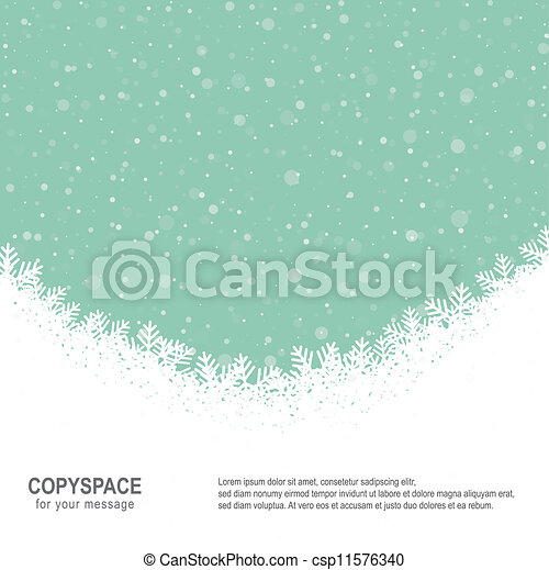 étoiles, neige vert, fond, snowflake blanc - csp11576340