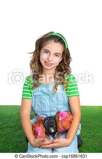 étreinte, éleveur, paysan, propriétaire ranch, poussin, girl, poules, poulet, gosse - csp16861631