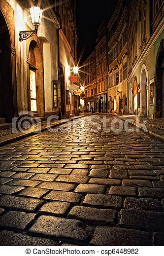 étroit, prague, lanternes, ruelle, nuit - csp6448982