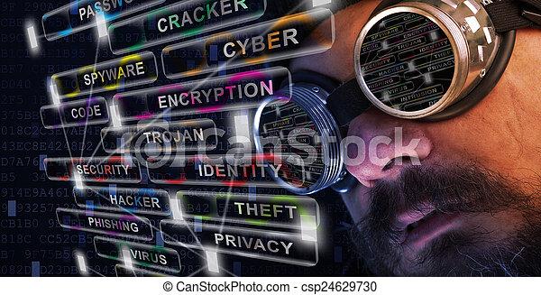 étude, cyber, shag, homme sécurité, moustache, barbe - csp24629730