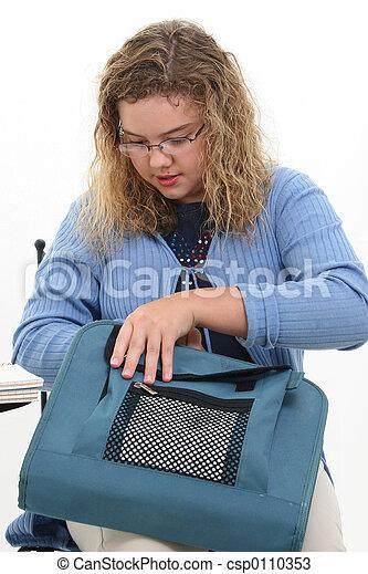 étudiant fille, enfant - csp0110353