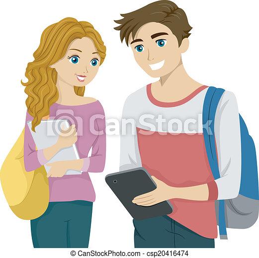 étudiant, tablette - csp20416474