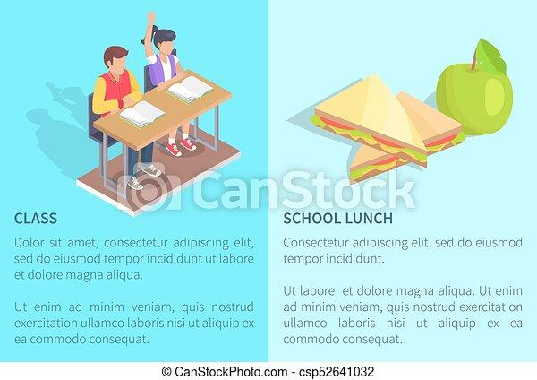 étudiants, classe, sandwich, pomme, deux - csp52641032