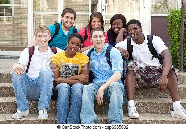 étudiants, collège, dehors, multiculturel, campus - csp6385602