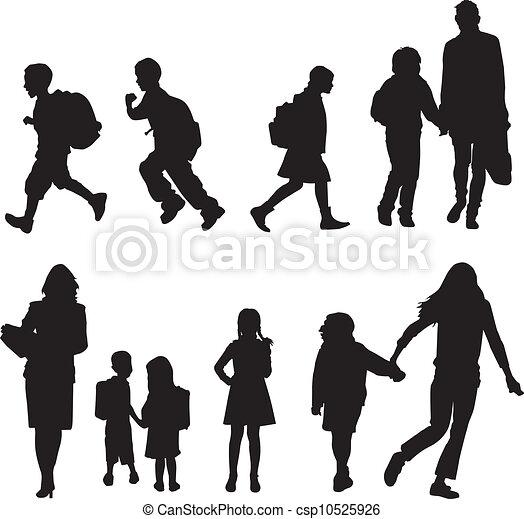 étudiants, silhouettes - csp10525926