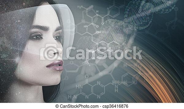 évolution, science, résumé, arrière-plans, contre, femme, portrait - csp36416876