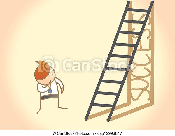 El personaje de Cartoon del hombre de negocios cuestiona el éxito de la escalera - csp12993847