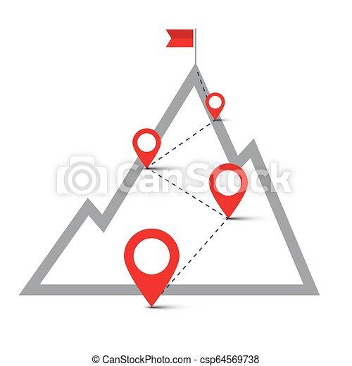 Ruta en la colina con alfileres. Bandera en la cima de la montaña. El símbolo de navegación del vector. El concepto de éxito empresarial. - csp64569738