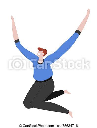 éxito, felicidad, aclamación, saltar, carácter, o, aislado, hombre - csp75634716
