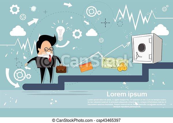 Hombre de negocios sube escaleras éxito financiero el negocio de crecimiento hombre de negocios - csp43465397