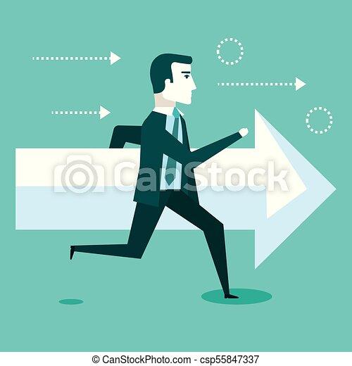 El éxito financiero en el negocio de la flecha del hombre - csp55847337
