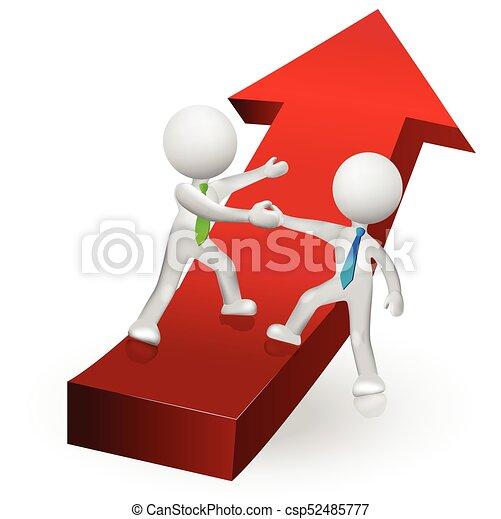3D personas subiendo al éxito en un vector de logo de flecha roja - csp52485777