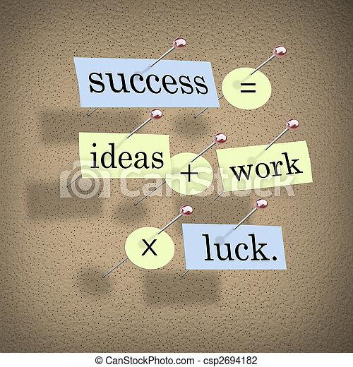 El éxito es igual a las ideas, más el trabajo a la suerte - csp2694182