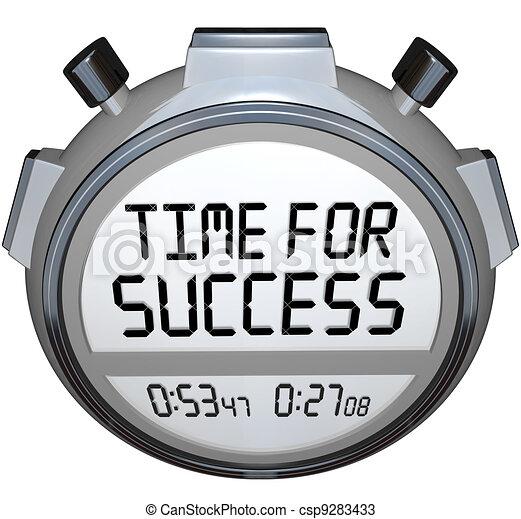 Tiempo para el éxito palabras cronómetro de cronómetro ganar la carrera - csp9283433