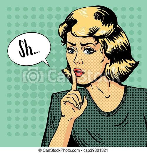 être, femme, exposition art, signe., arrêt, illustration, assez, conversation, vecteur, pop, message, style., shhh, silence, retro - csp39301321