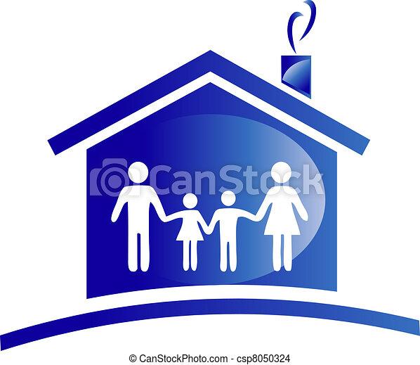 ícone casa, família, logotipo - csp8050324