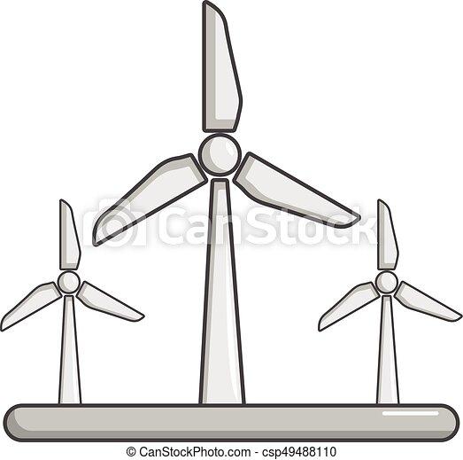 ícone, eolic, turbina, estilo, caricatura - csp49488110