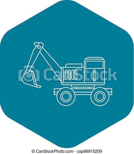 ícone, estilo, esboço, escavador - csp66915209