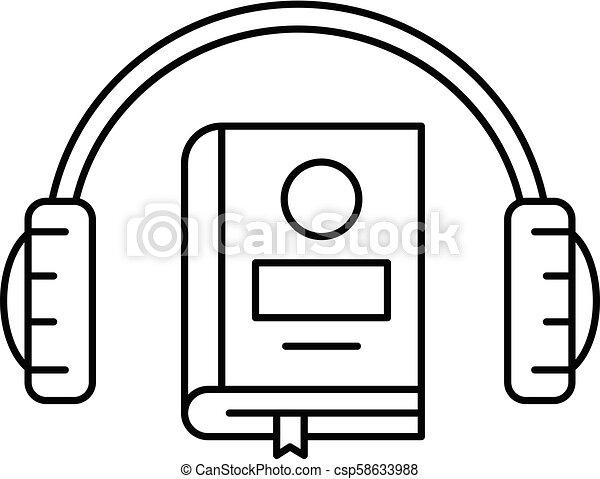 ícone, estilo, livro, esboço, escutar - csp58633988