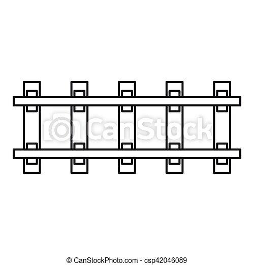 ícone, estrada ferro, estilo, esboço - csp42046089