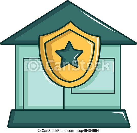 ícone, lar, estilo, protegido, caricatura - csp49404994