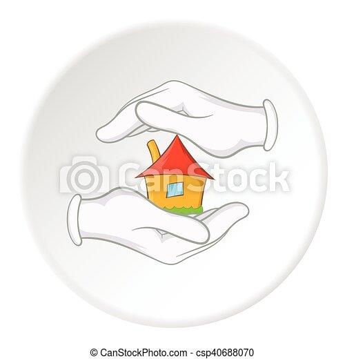 ícone, lar, estilo, segurança, caricatura - csp40688070
