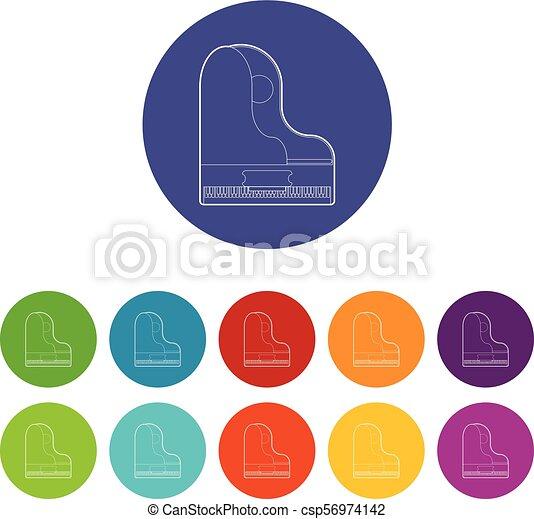 ícone, piano, grandioso, estilo, esboço - csp56974142