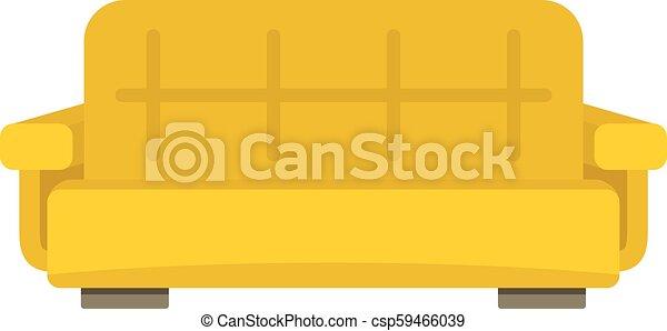 ícone, sofá, estilo, amarela, apartamento - csp59466039
