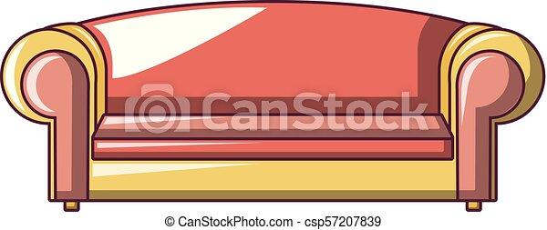 ícone, sofá, estilo, caricatura, vermelho - csp57207839