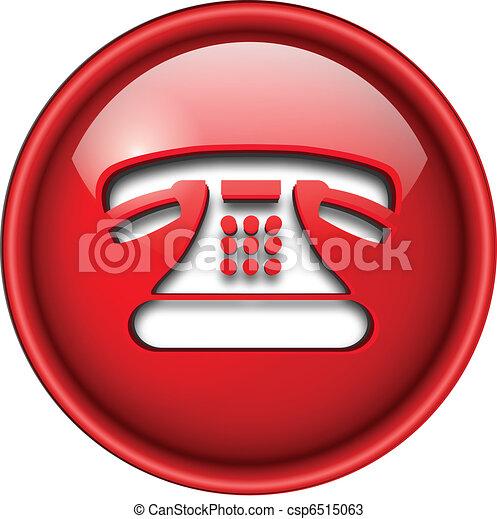 ícone, telefone, button. - csp6515063