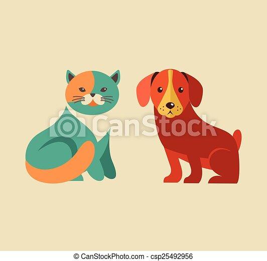 ícones, cão, cobrança, gato, vetorial, ilustrações - csp25492956