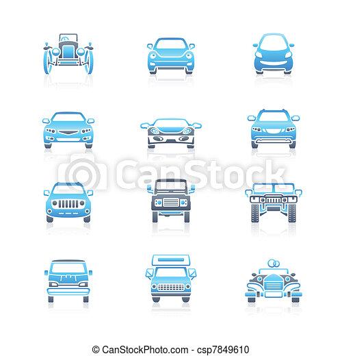 ícones, carros, frente, marinho, |, vista - csp7849610