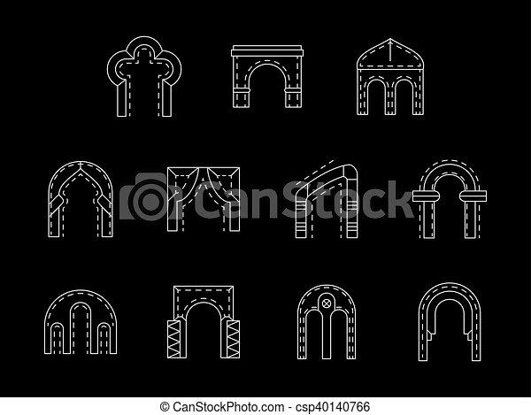 ícones, cobrança, vetorial, branca, arco, linha, tipos - csp40140766