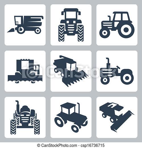 ícones, harvester, isolado, vetorial, combinar, trator - csp16736715