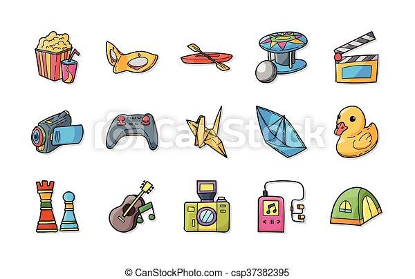 ícones, jogo, lazer, eps10, passatempo - csp37382395