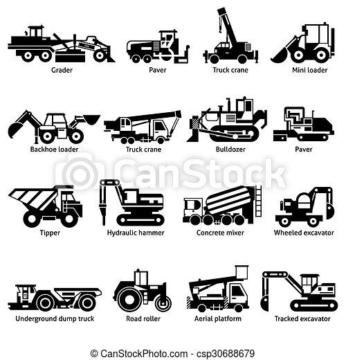 ícones, pretas, construção, máquinas, jogo, branca - csp30688679
