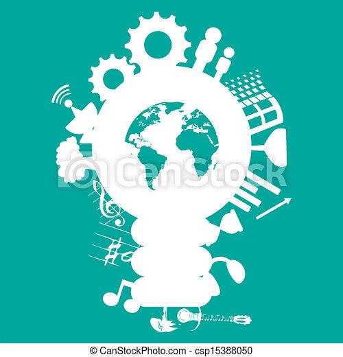 ícones, rede, social, fundo, mídia - csp15388050