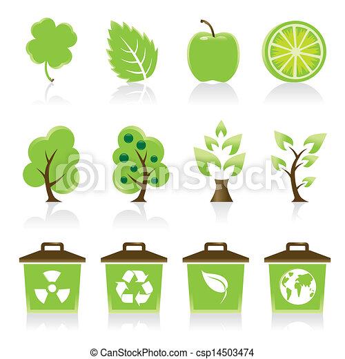 ícones, seu, jogo, 12, ambiental, verde, desenho, idéia - csp14503474