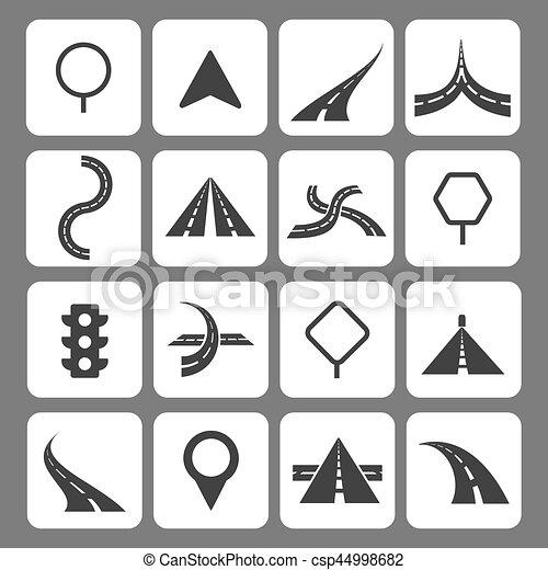 ícones, sinais tráfego, navegação, estrada, movimento - csp44998682