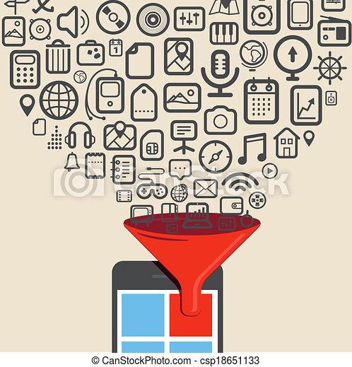 ícones, tabuleta, dispositivo, digital, modernos, fluxos - csp18651133