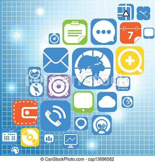 ícones, teia, cor, interface, gráfico, voando - csp13696582