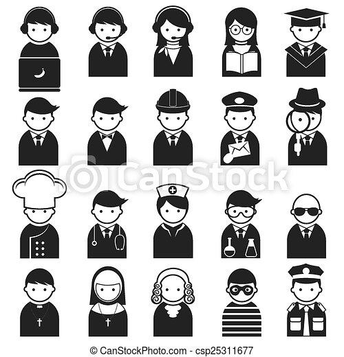 ícones, vário, pessoas, ocupação - csp25311677