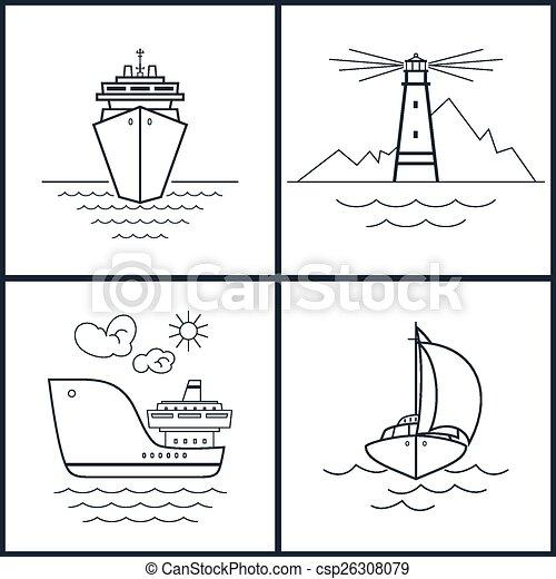 Ícones vetorial jogo marítimo carga jogo navio ícones