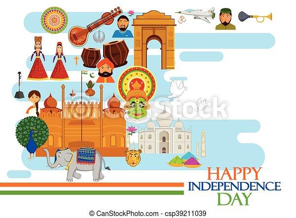 índia, dia, independência, feliz - csp39211039