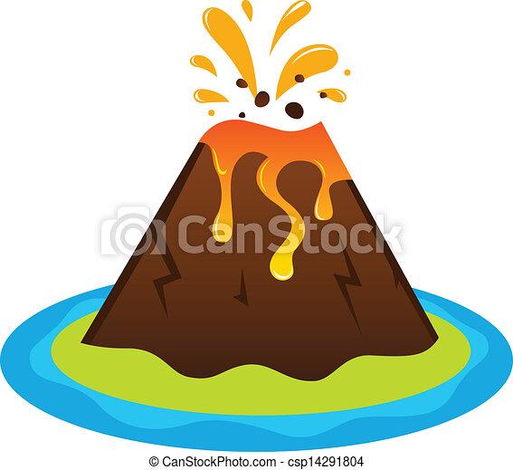 île Blanc Isolé Explosing Volcan Exotique Volcan Vecteur