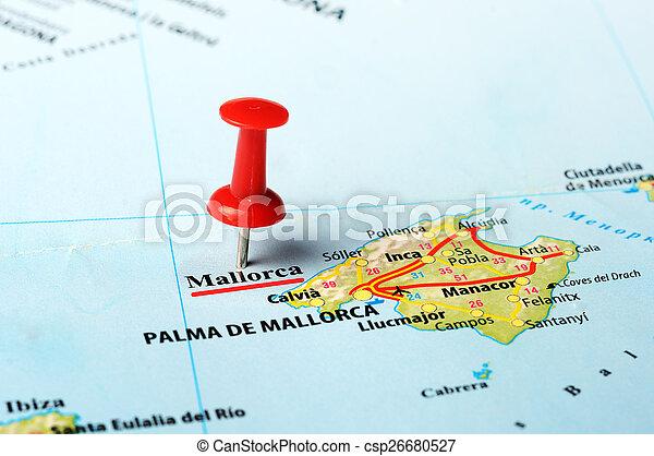 Ile Mallorca Carte Epingle Carte Majorque Fin Ile Rouges Espagne Haut Canstock