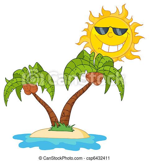 Le palmier deux dessin anim le arbre deux paume soleil dessin anim - Palmier clipart ...