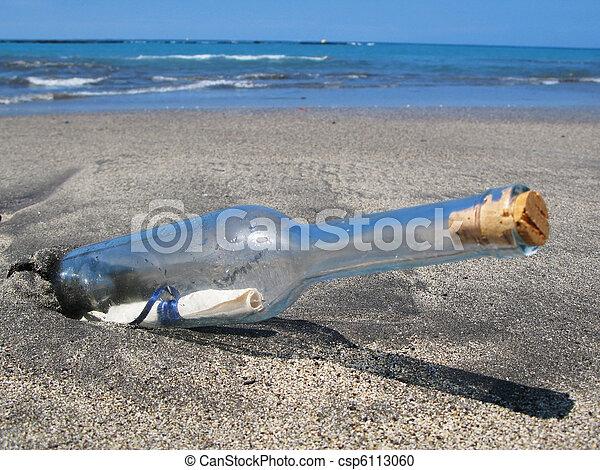 île, tenerife, sable, noir, bouteille, message, canaris - csp6113060