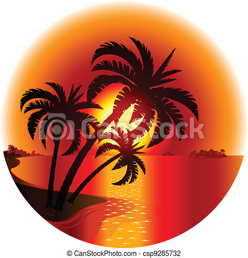 Le tropicale coucher soleil island illustration - Dessin coucher de soleil ...